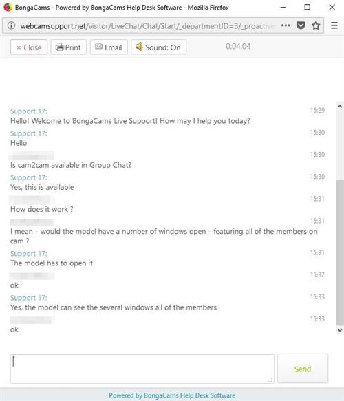 An example of Online Live Chat Support as featured on BongaCams.com