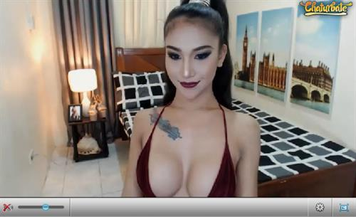 A seductive looking oriental shemale models on Chaturbate.com
