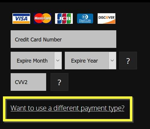 The Credits purchase page, indicating how to change the payment method.