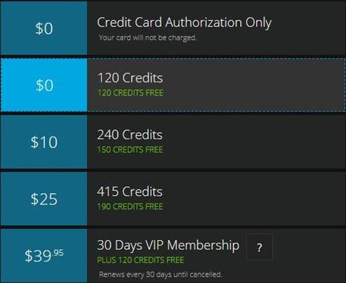 Credit purchase page for first time buyers on Flirt4Free.com
