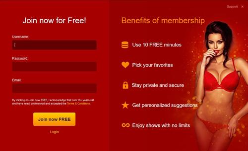 The registration page on LiveJasmin.com