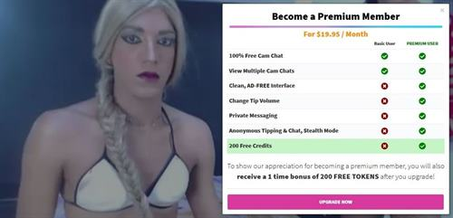 Premium membership to tranny sex cams on CamSoda.com