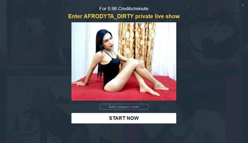 Confirmation page before commencing with hot tgirl chat in private