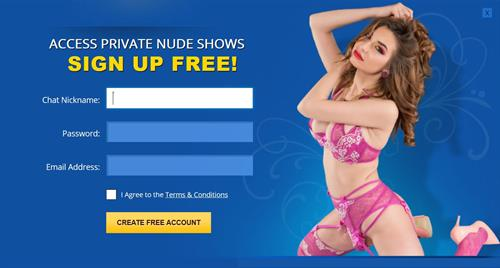 The member registration page on Flirt4Free.com