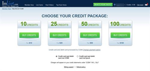 The Credits package page, including the available payment options on ImLive.com