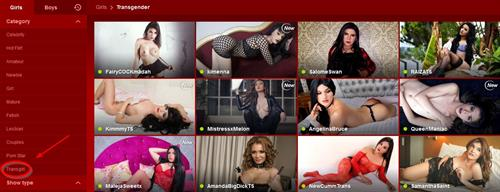 The homepage indicating how to find transgirls on LiveJasmin.com