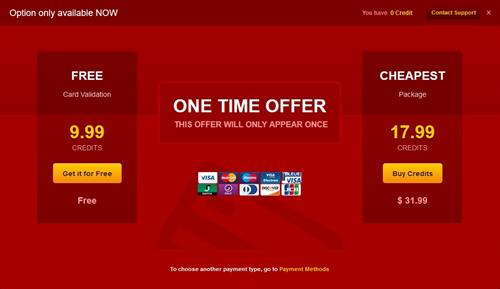 The 'one time offer'  purchase Credits landing page on LiveJasmin.com