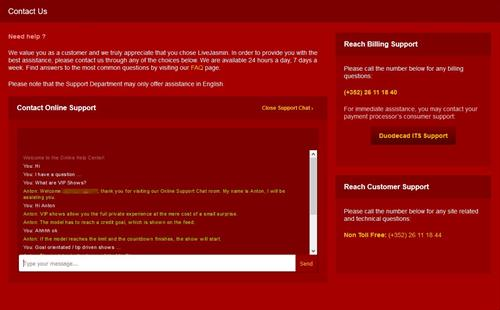 The Online Live Chat Support page, showing an in session support chat window.