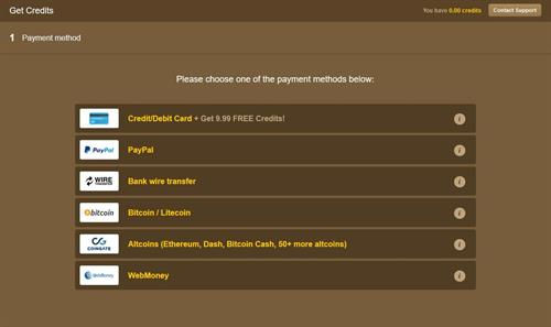 The various payment methods offered on MyTrannyCams.com